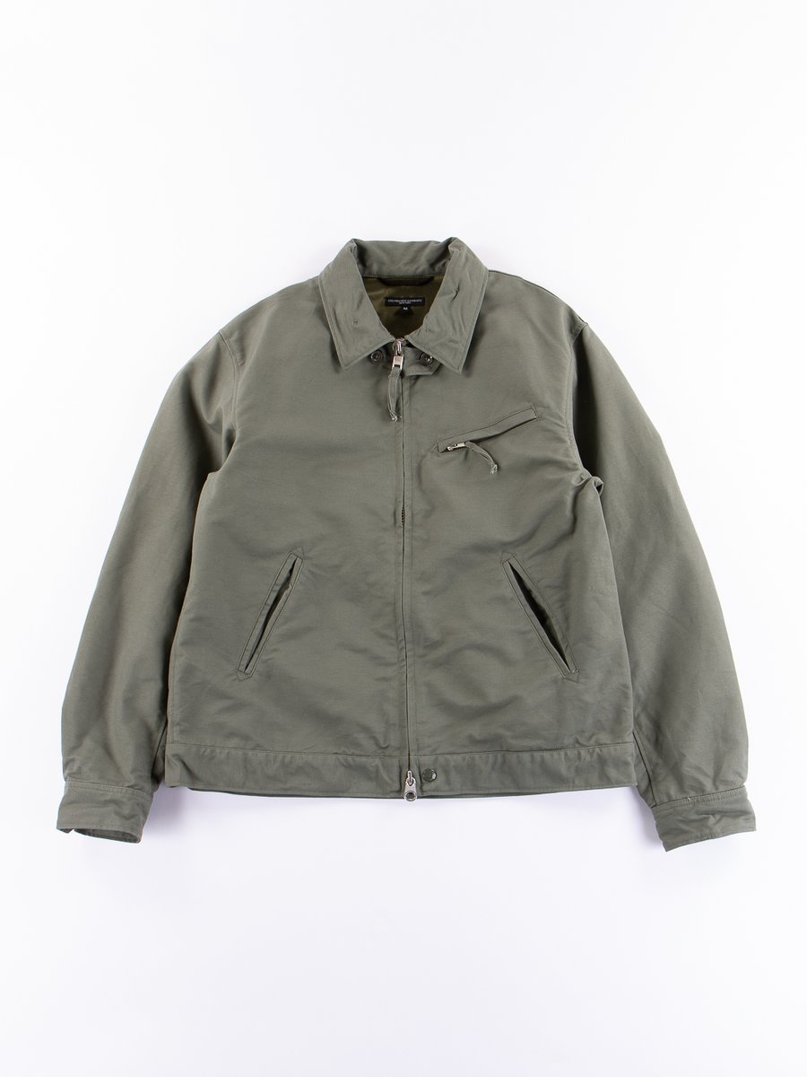 Olive Cotton Double Cloth Driver Jacket