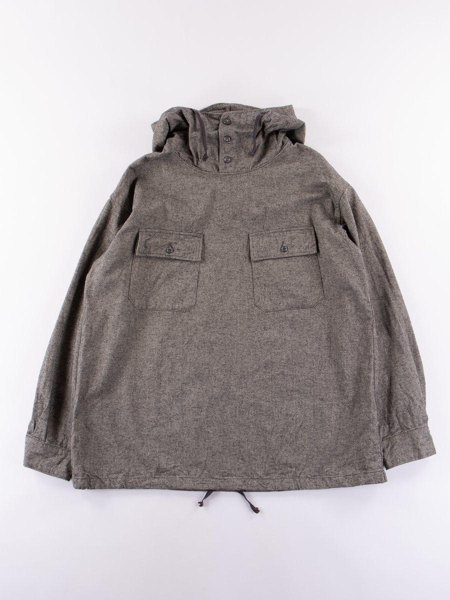 Grey Brushed Herringbone Cagoule Shirt