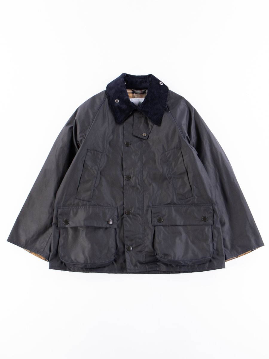Navy Oversized Bedale Waxed Cotton Jacket