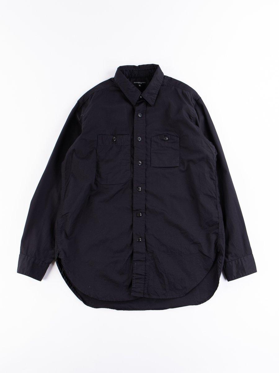 Dark Navy Cotton Fineline Twill Work Shirt