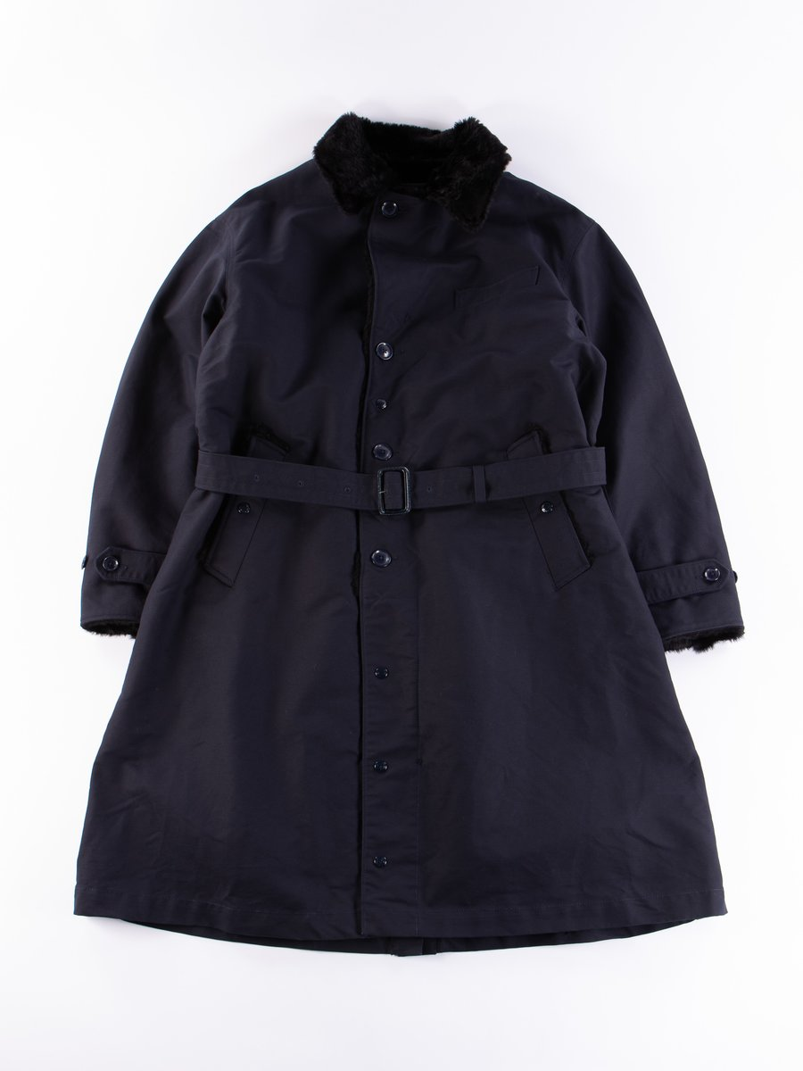 Navy Cotton Double Cloth Storm Coat
