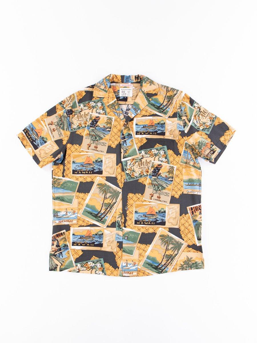 Black Greetings From Hawaii Rayon Camp Shirt