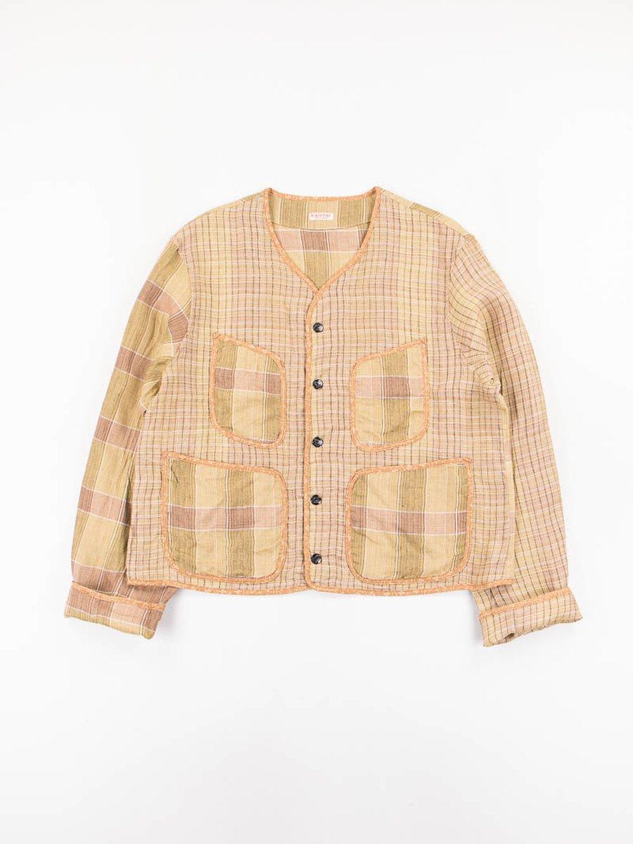 Gold Linen Basho Check Beach Bolero Jacket