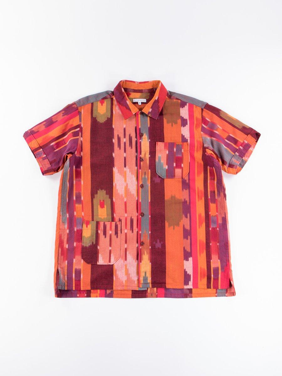 Red/Orange Cotton Ikat Camp Shirt