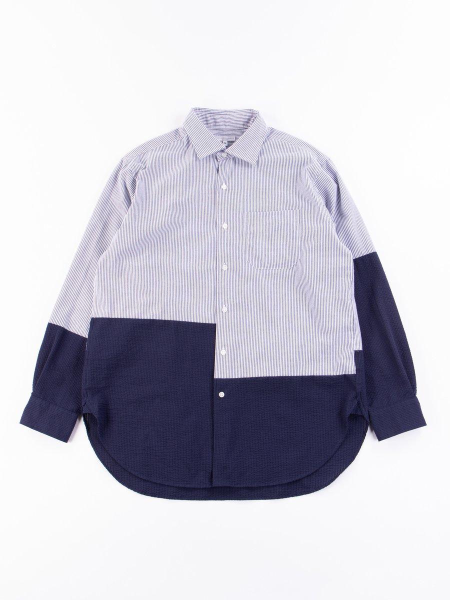 Blue/White CP Seersucker Stripe Spread Collar Shirt