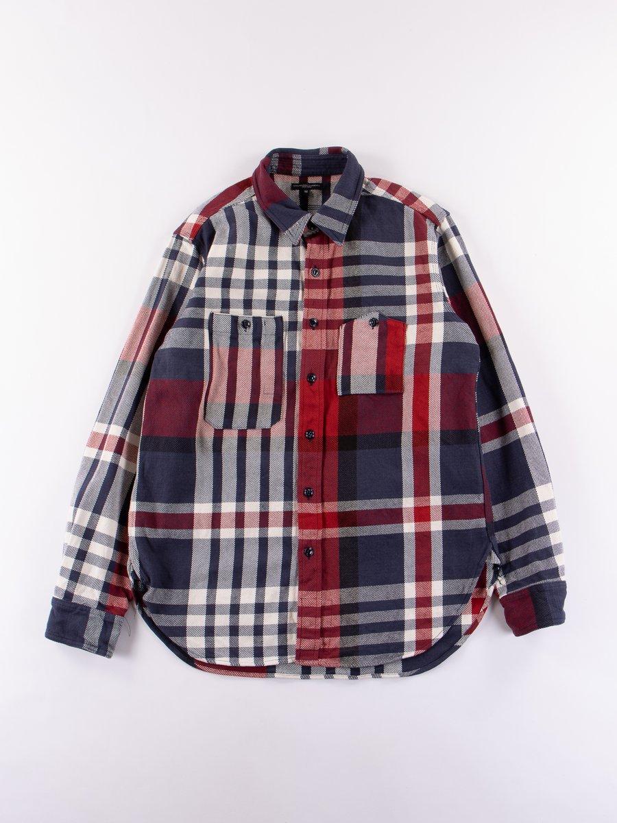 Navy/Red/White Heavy Twill Plaid Work Shirt