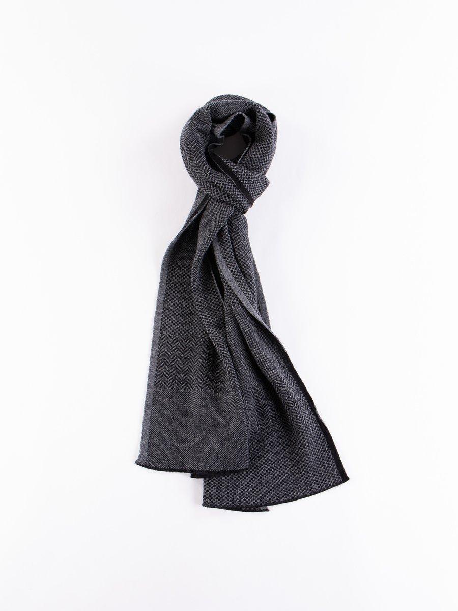 Charcoal Wool Herringbone Knit Scarf