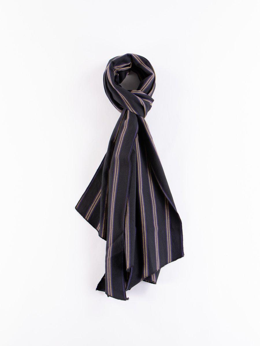 Black Heavy Twill Regent Stripe Long Scarf