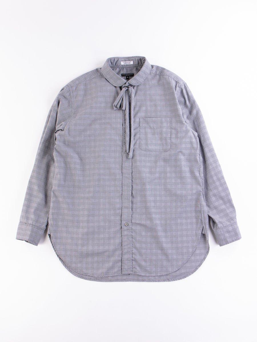 Black/White Cotton Glen Plaid Rounded Collar Shirt