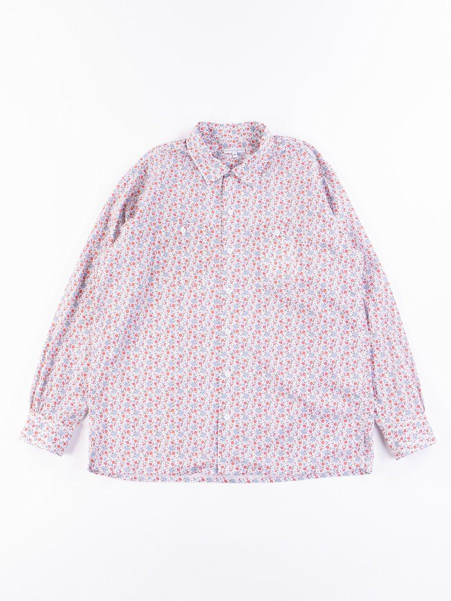 White/Blue/Orange Small Floral Classic Shirt