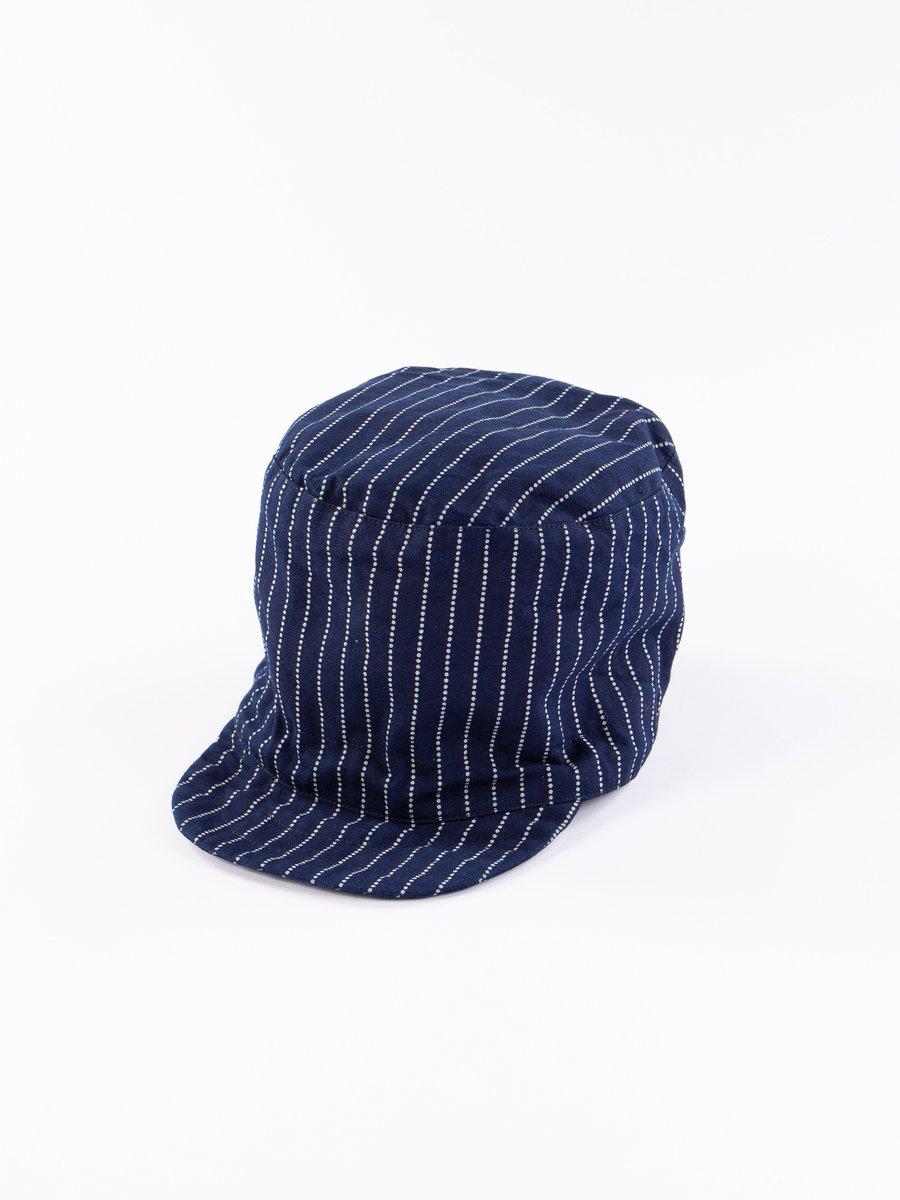 Indigo Cotton Wabash Stripe FM Cap