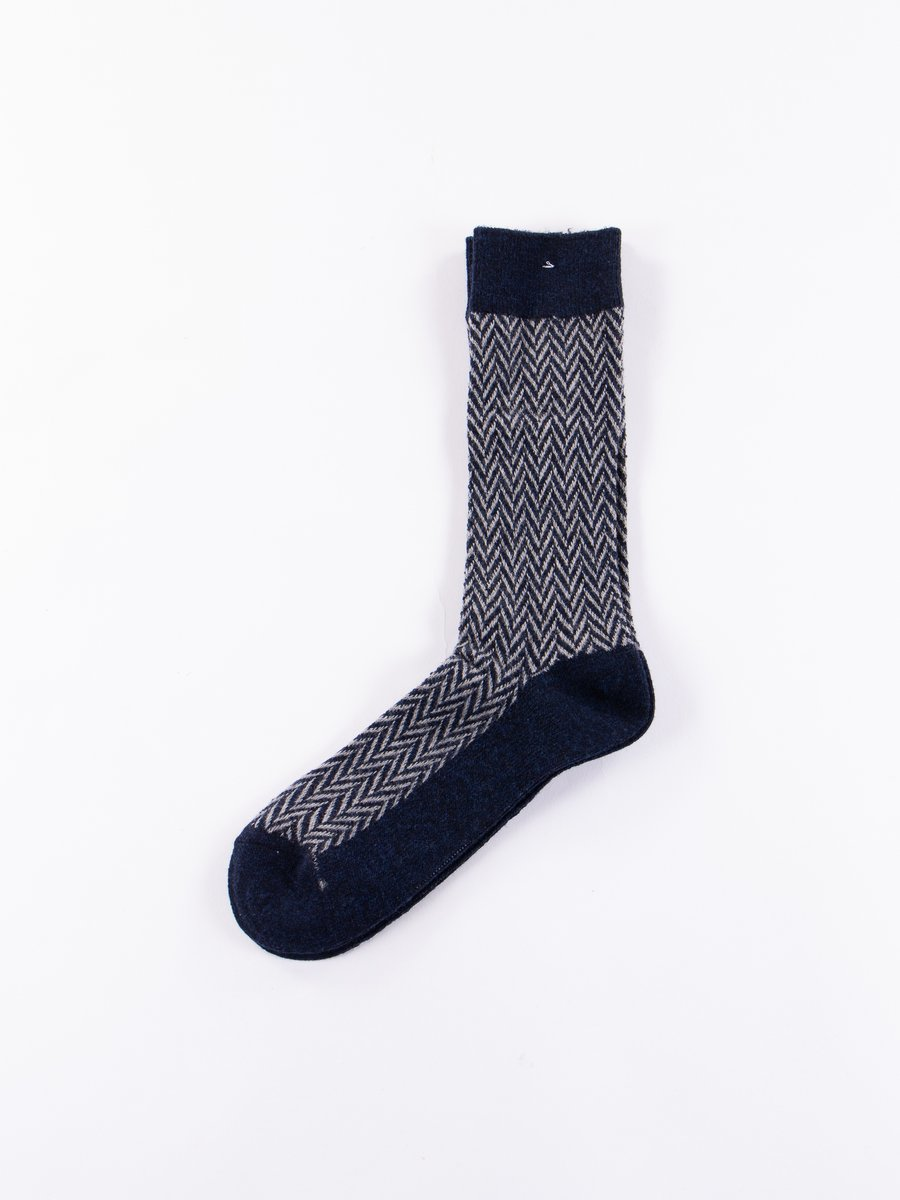 Navy/Grey Herringbone Knit Socks