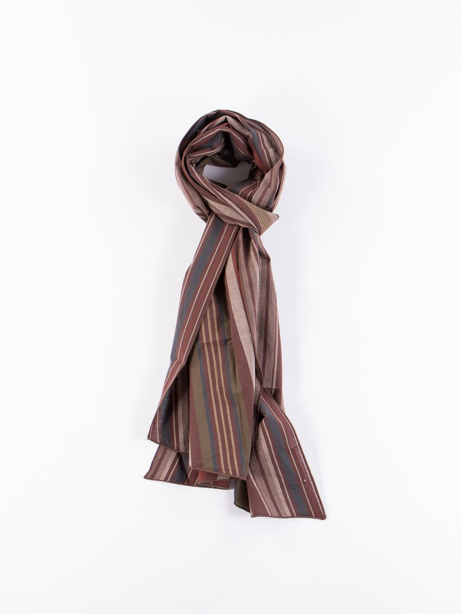 Brown Cotton Variegated Stripe Long Scarf