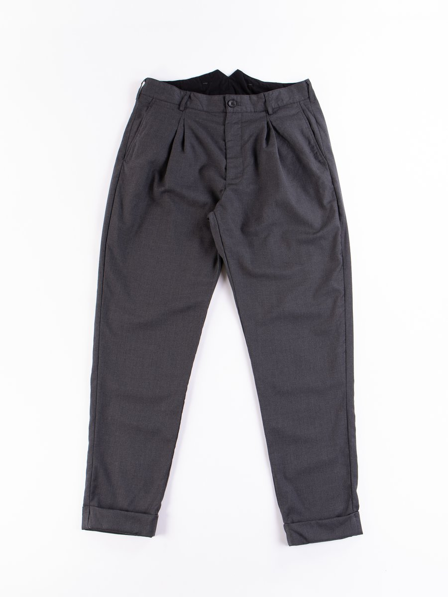 Charcoal Worsted Wool Gabardine WP Pant