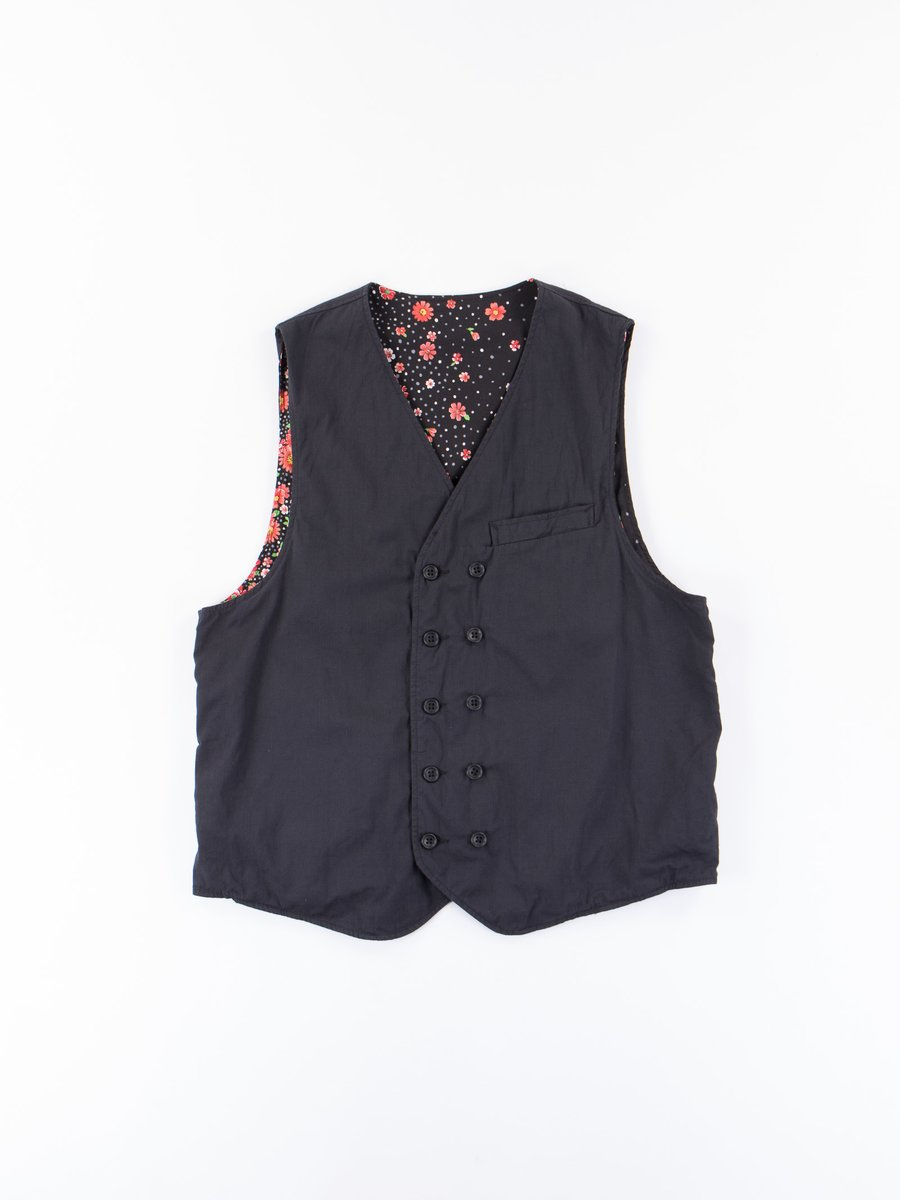 Black Cotton Cordlane Reversible Vest
