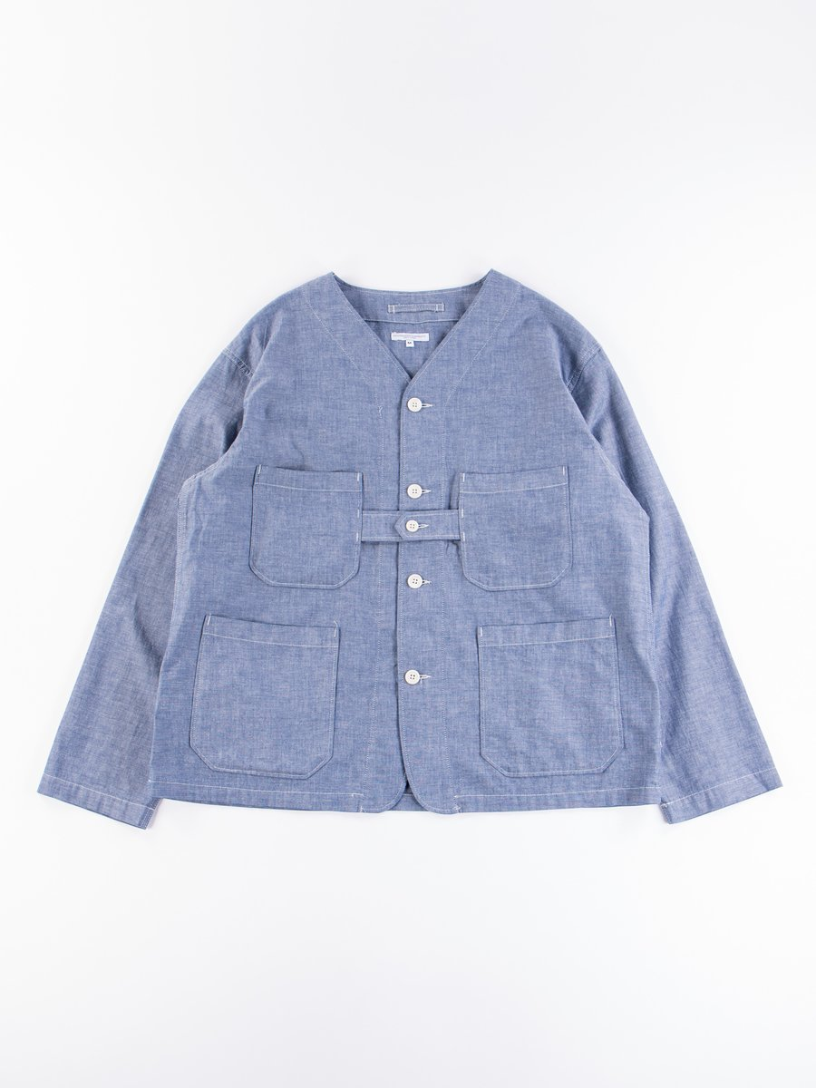 Blue Cotton Chambray Cardigan Jacket