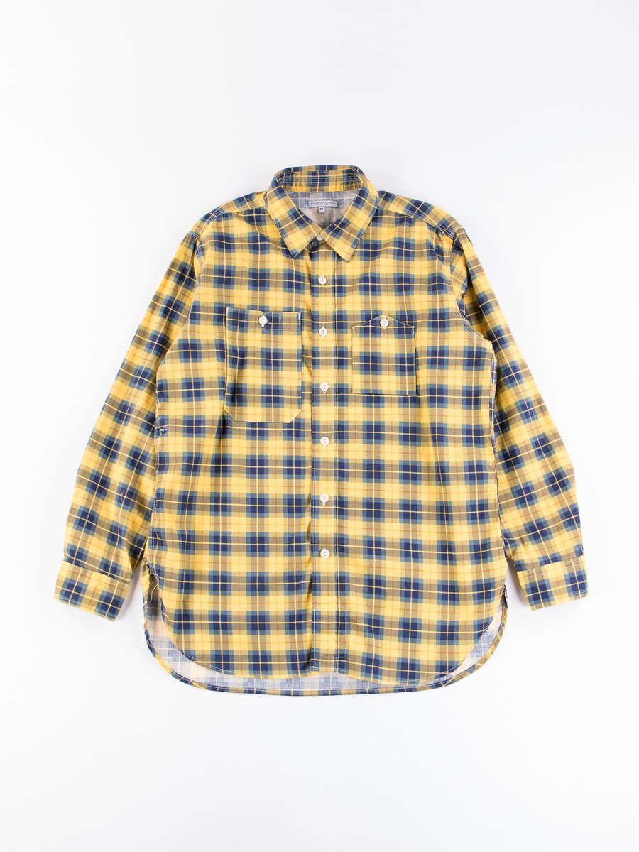 Yellow/Navy Cotton Printed Plaid Work Shirt