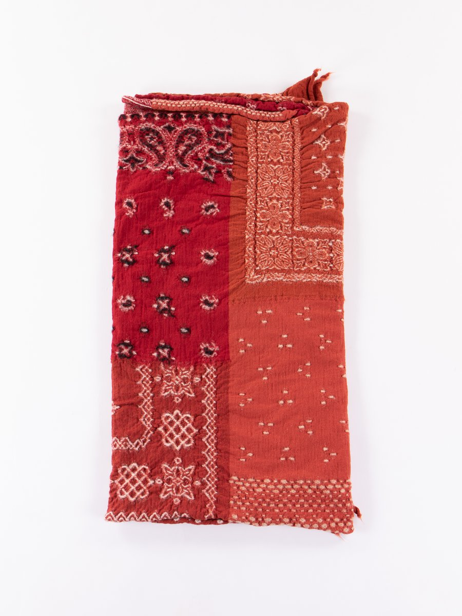 Red Bandana Patchwork Scarf