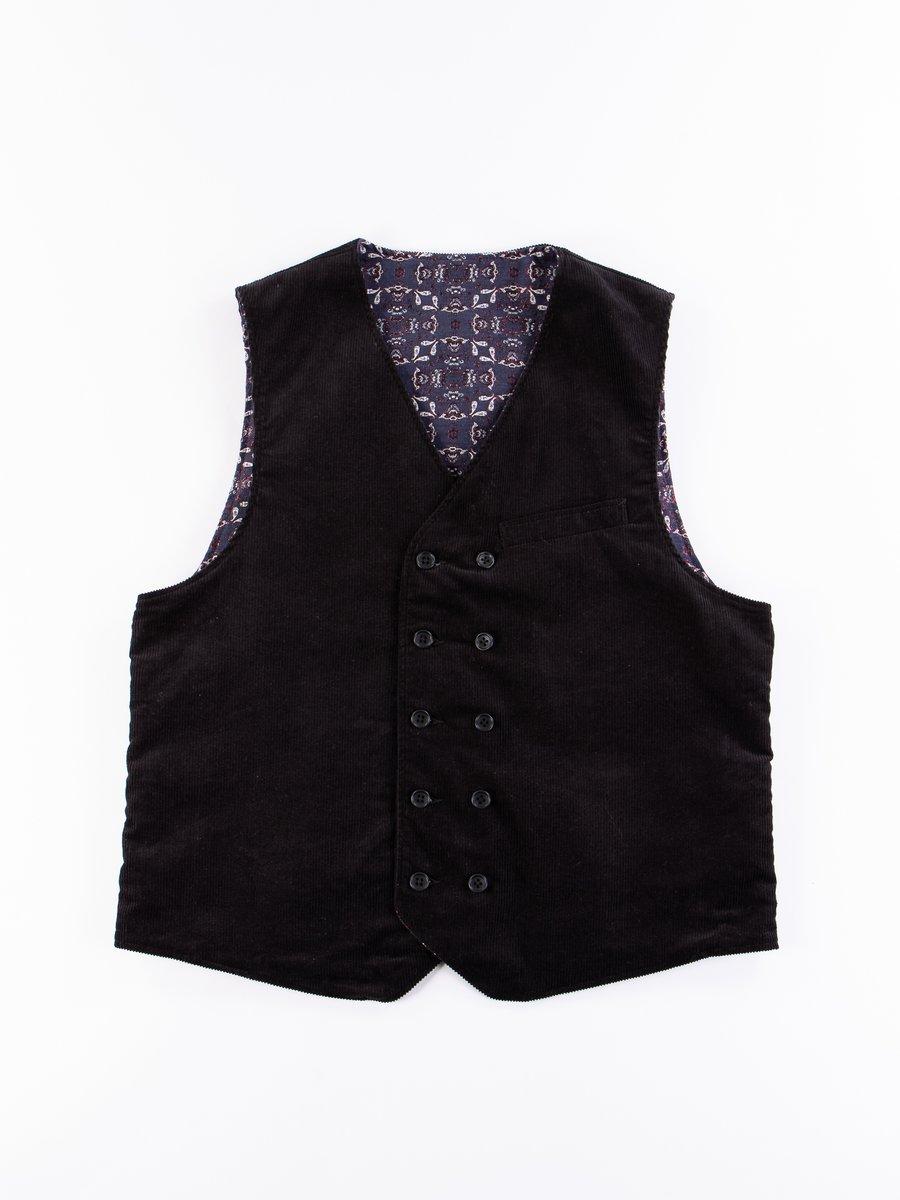 Black Cotton 11W Corduroy Reversible Vest