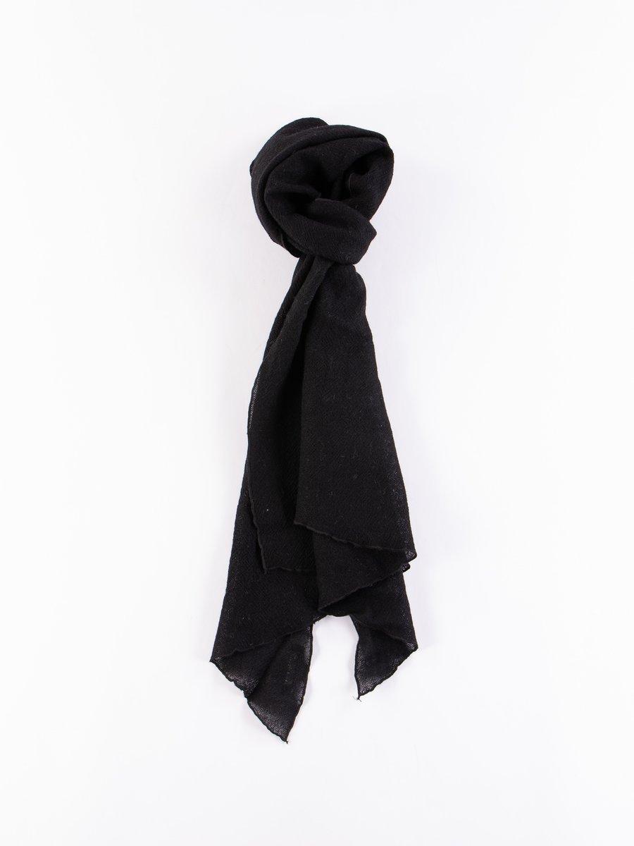 Black Wool Gauze Long Scarf