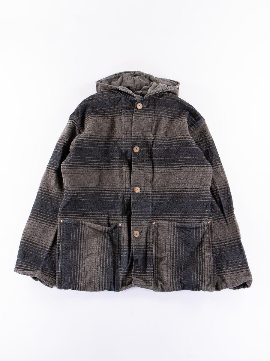 Indian Black Dye Doppler Stripe Hooded Shepherd's Coat