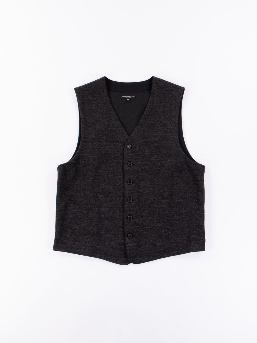 Charcoal Poly Wool Jersey Knit Vest