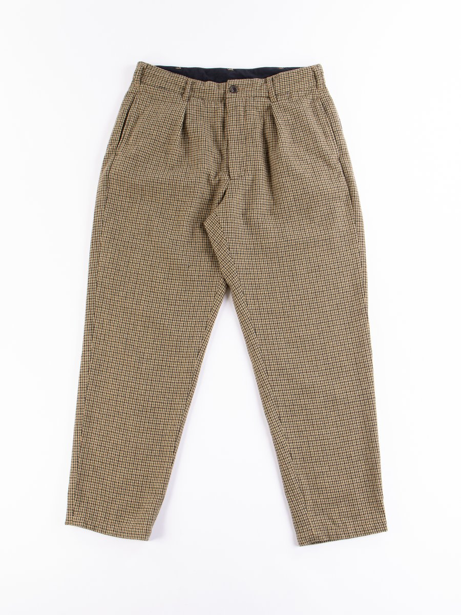 Tan Green Wool Gunclub Check Carlyle Pant