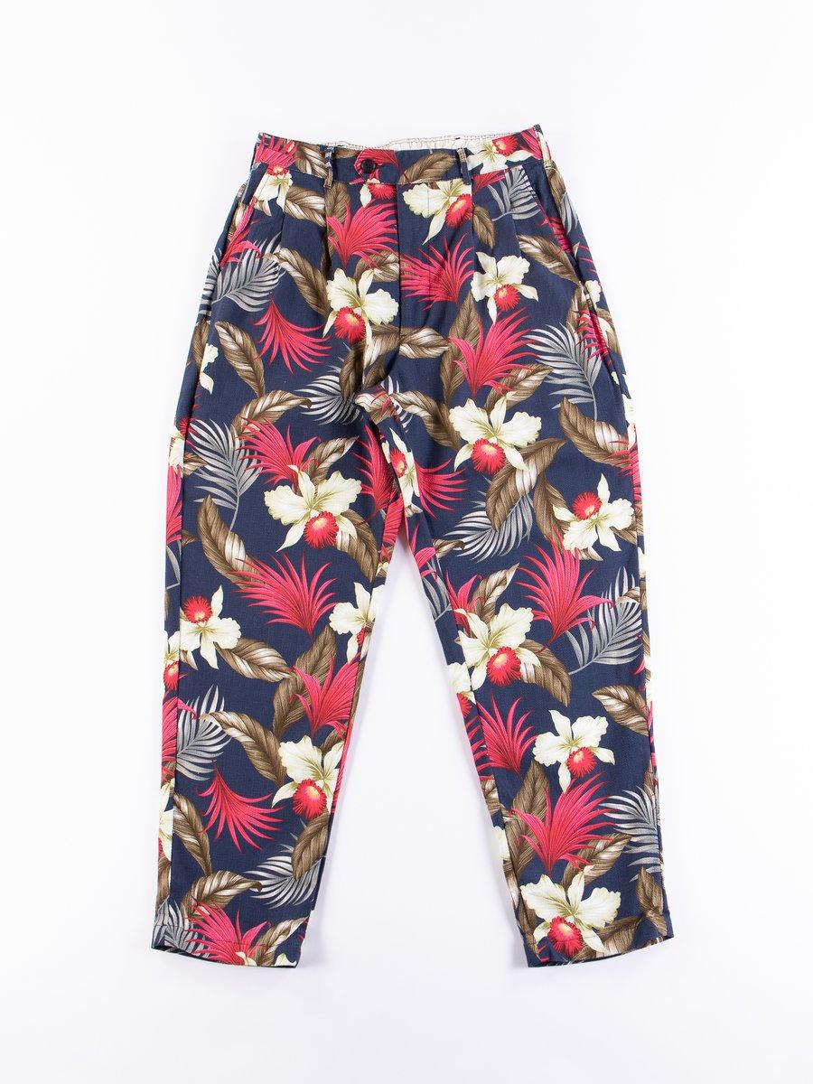 Navy Hawaiian Floral Java Cloth Emerson Pant