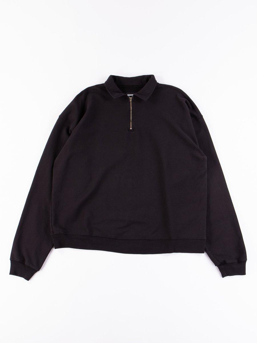 Black Cropped Half Zip Sweat