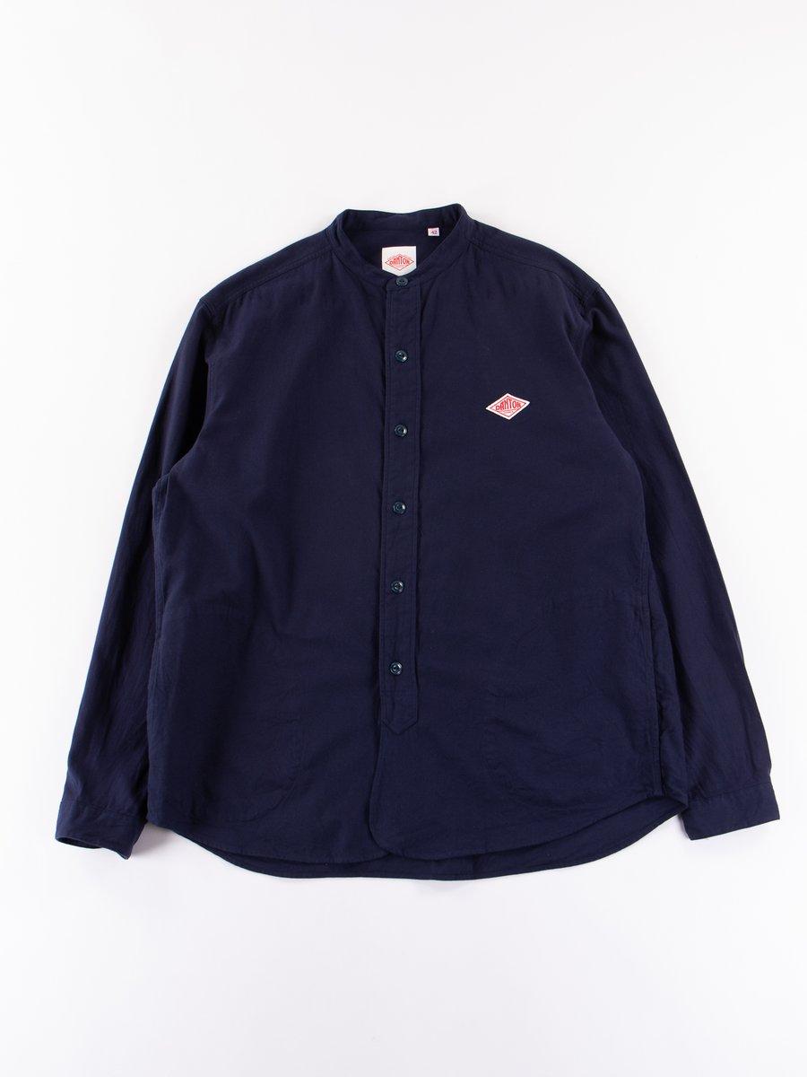 Navy Banded Collar Shirt