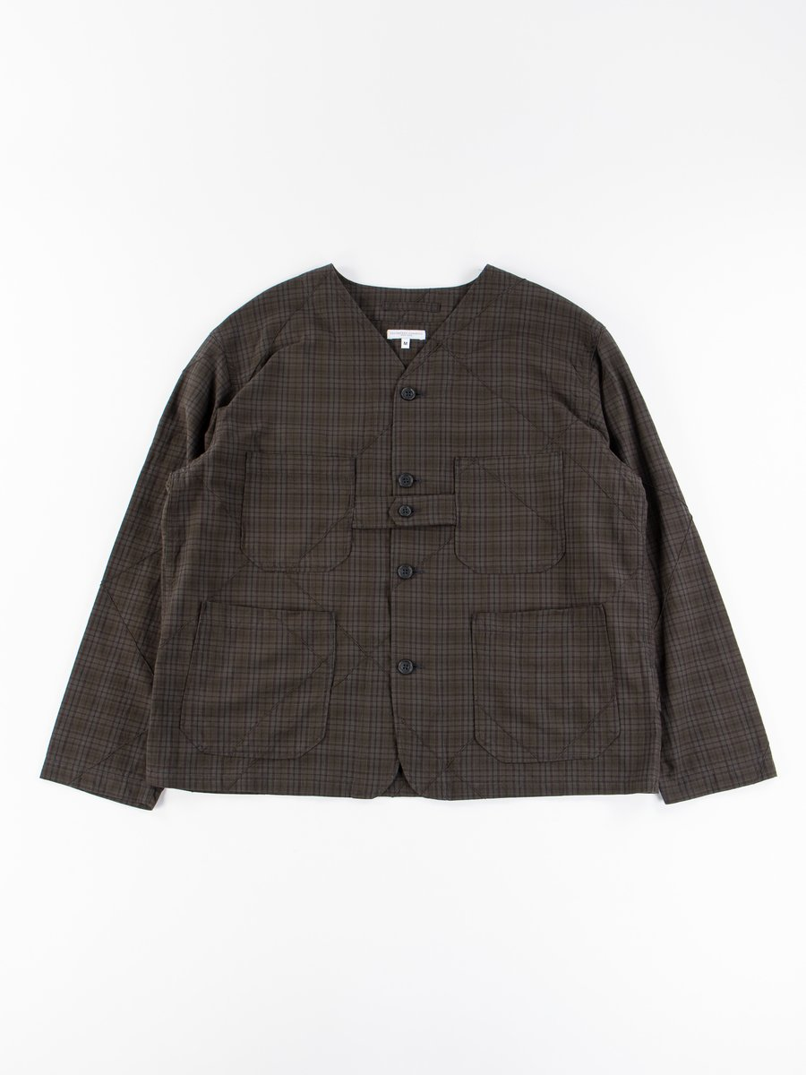 Dark Olive Pintuck Small Plaid Cardigan Jacket
