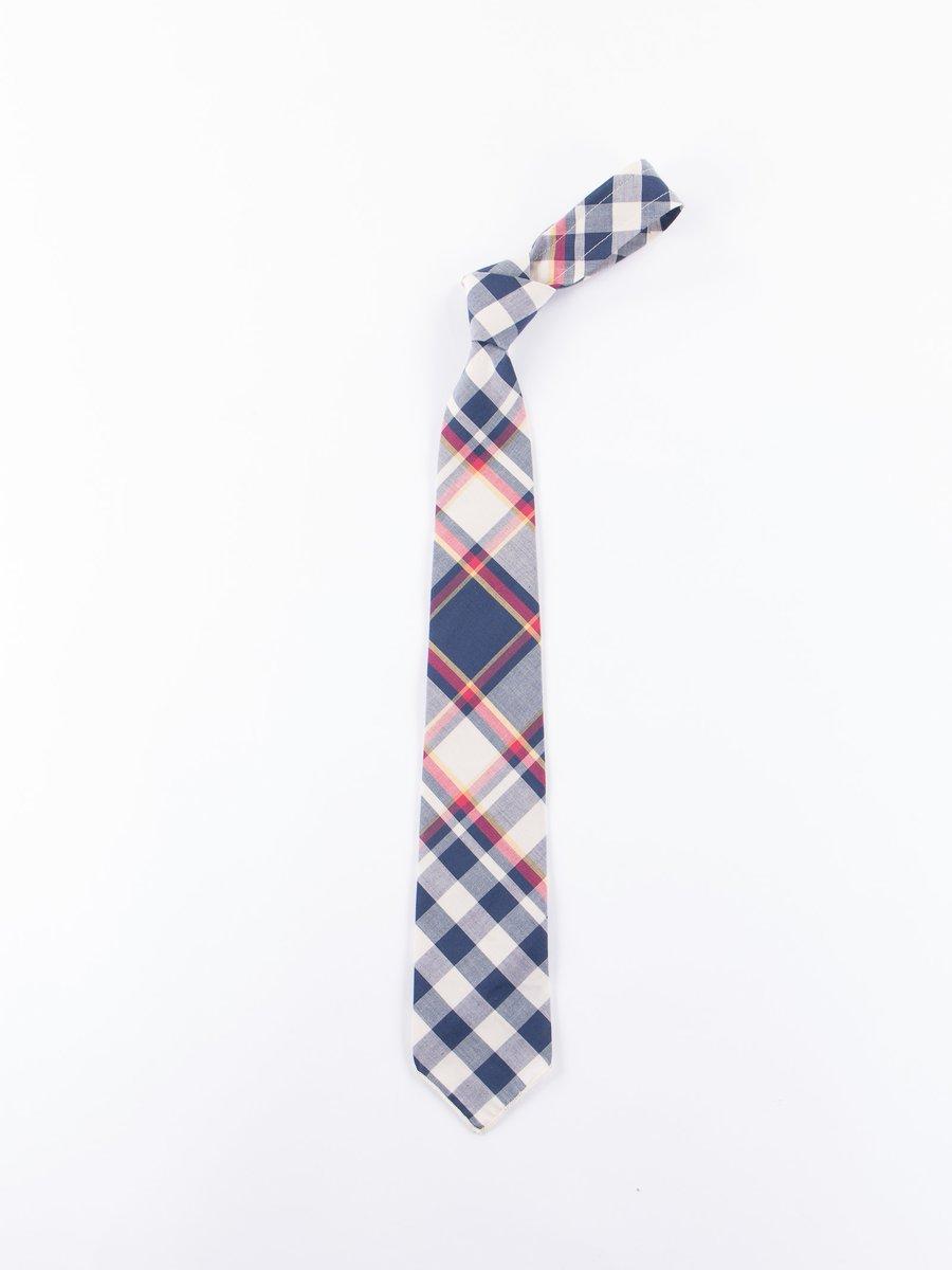 Navy/Red/Yellow Big Plaid Madras Neck Tie