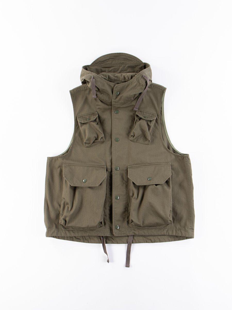 Olive Cotton Herringbone Twill Field Vest