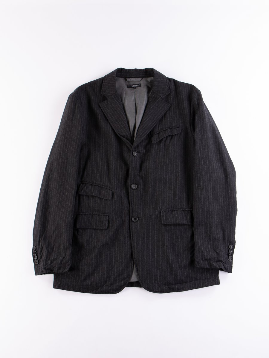 Charcoal Worsted Wool Chalk Stripe Andover Jacket