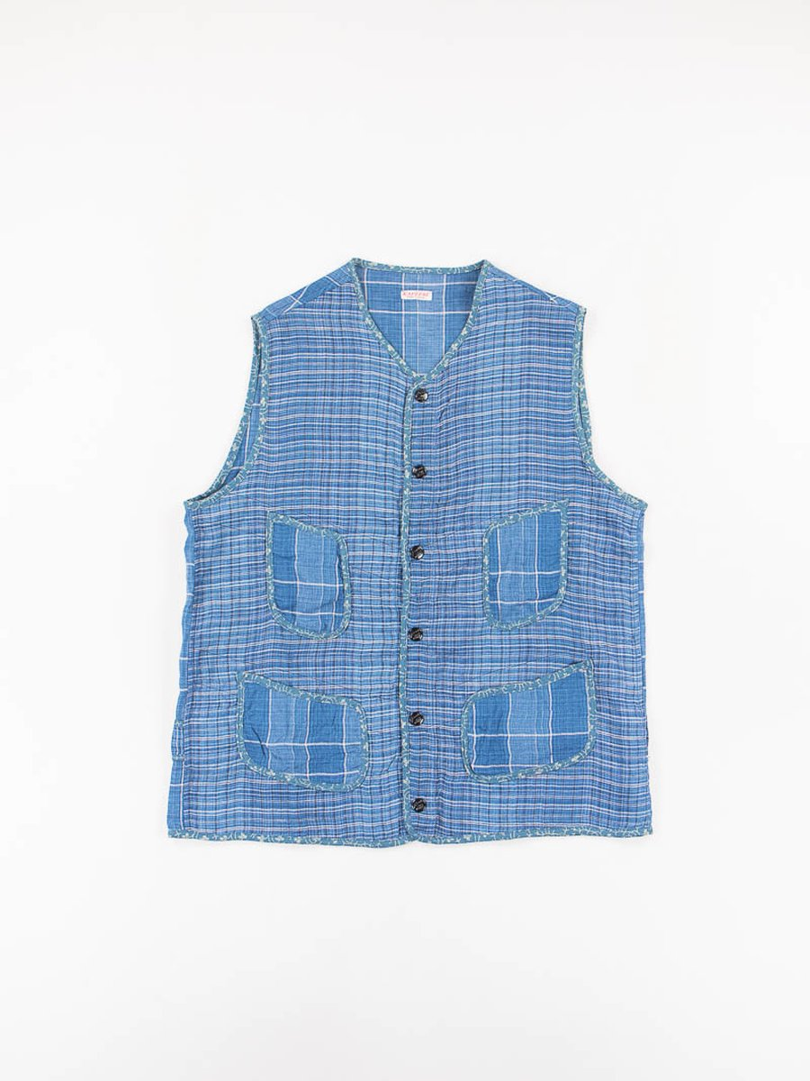 Indigo Linen Basho Check Beach Bolero Vest