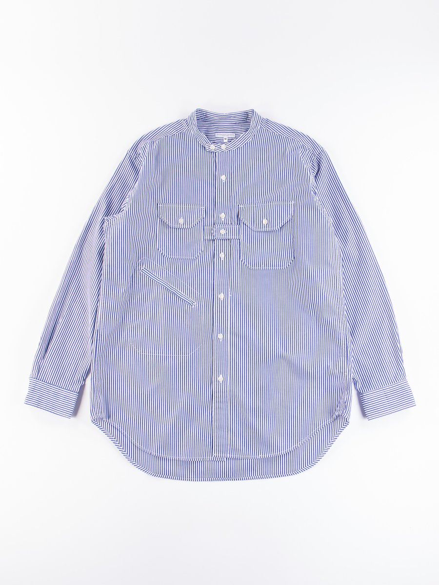 Blue/White Candy Stripe Broadcloth Banded Collar Shirt