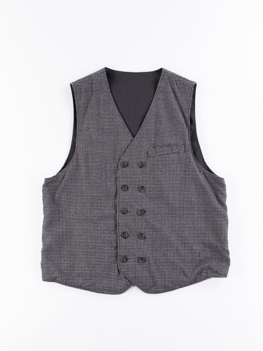 Grey Wool Glen Plaid Houndstooth Reversible Vest