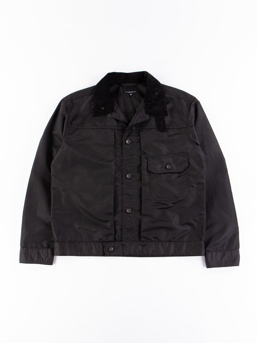 Black Flight Satin Nylon Trucker Jacket