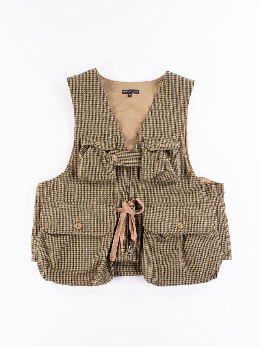Tan Green Wool Gunclub Check Game Vest