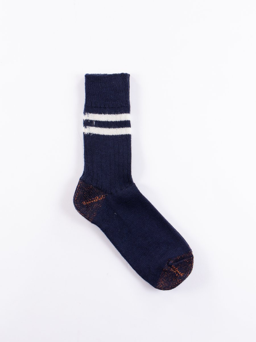 Ink Blue/Natural S75 Wool Striped Sport Sock