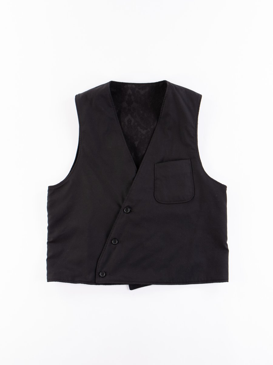 Black Worsted Wool Gabardine Reversible Vest