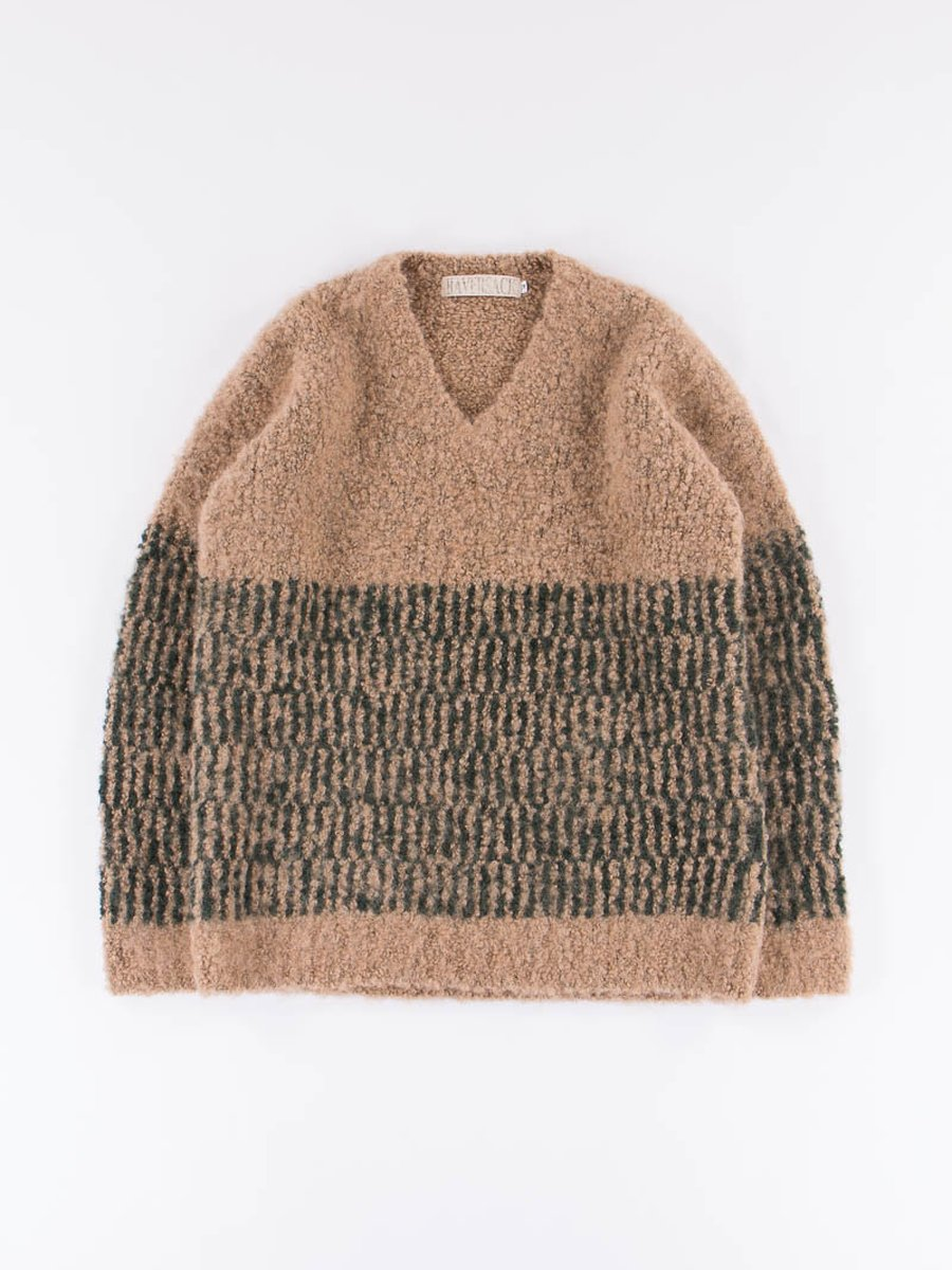Beige Heavy Knit V–Neck Sweater
