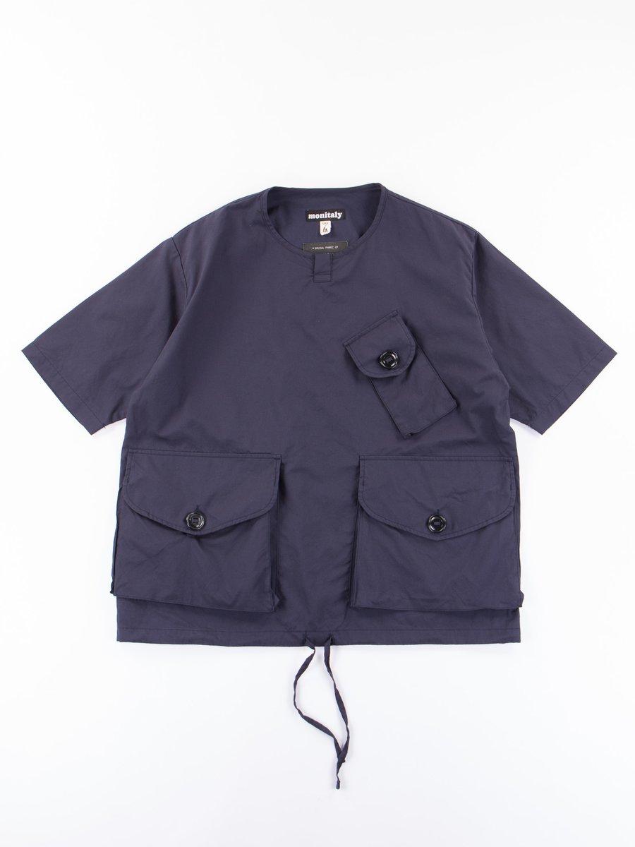 Navy Vancloth Poplin S/S Henley Pullover
