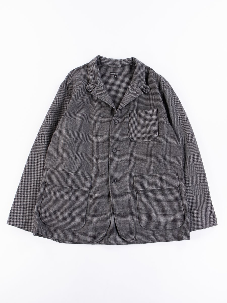 Grey Wool Glen Plaid Houndstooth Loiter Jacket