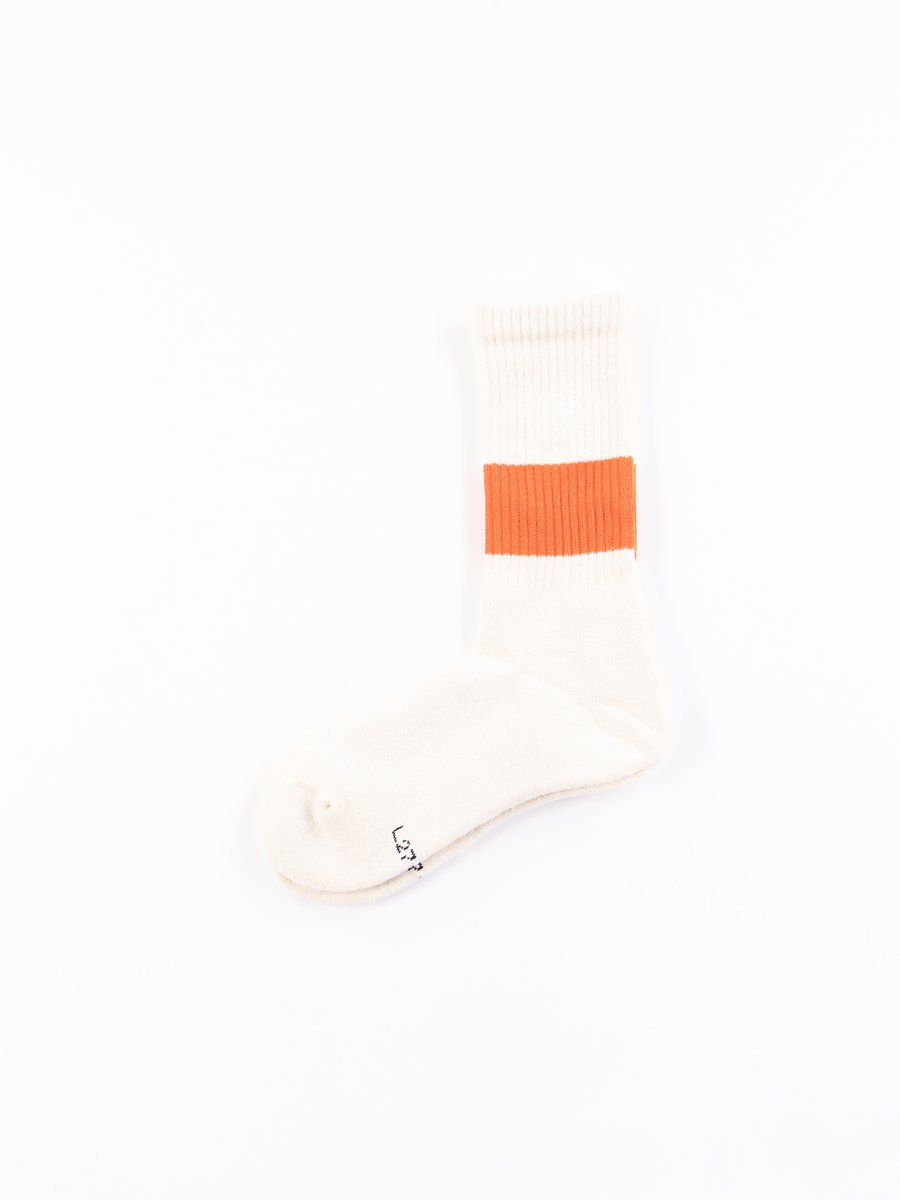 Ivory/Orange Silk Classic Crew Socks