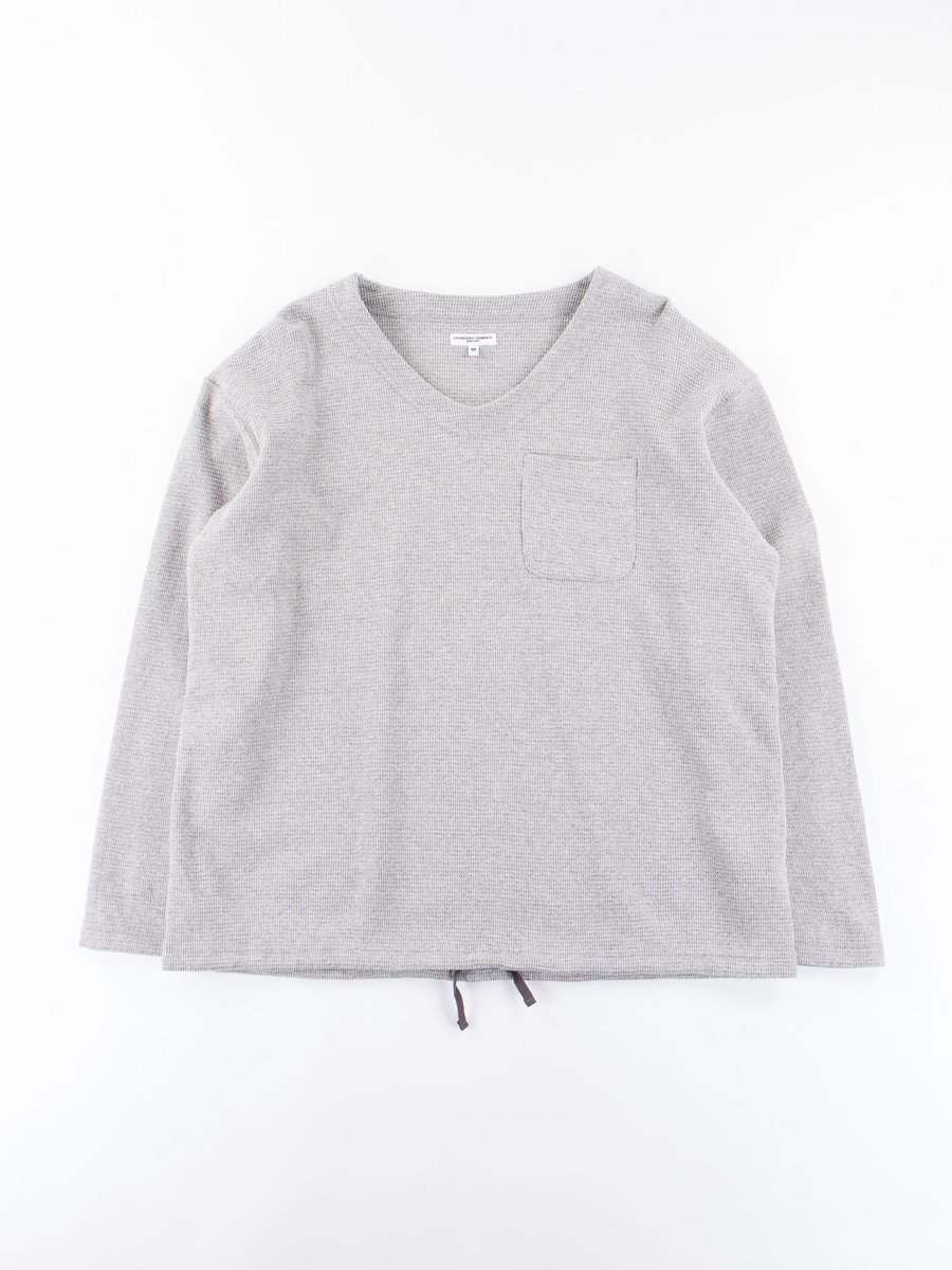 Heather Grey Cotton Thermal U Neck Pop Over