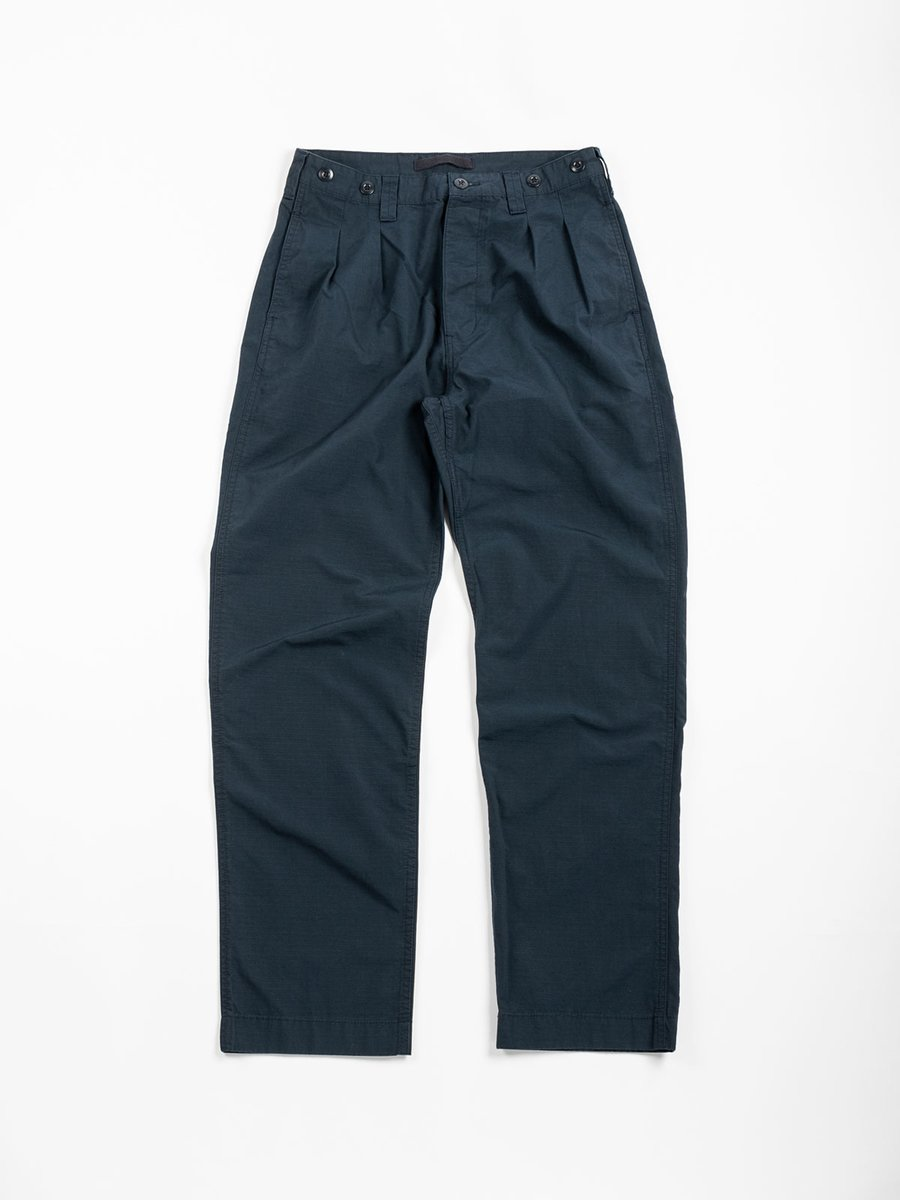 PLEATED CHINO COTTON RIPSTOP NAVY