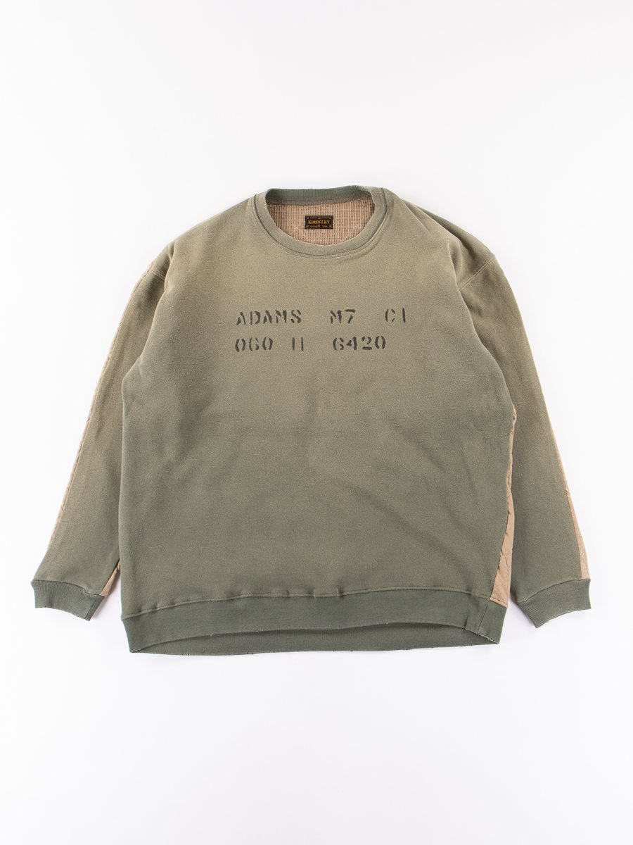 Khaki Twill Quilting Military Big Sweatshirt