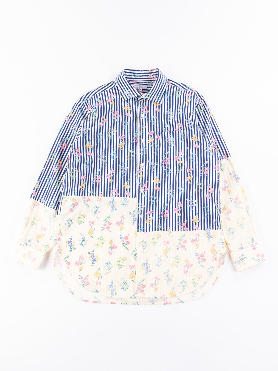 Navy Cotton Floral Stripe Print Spread Collar Shirt