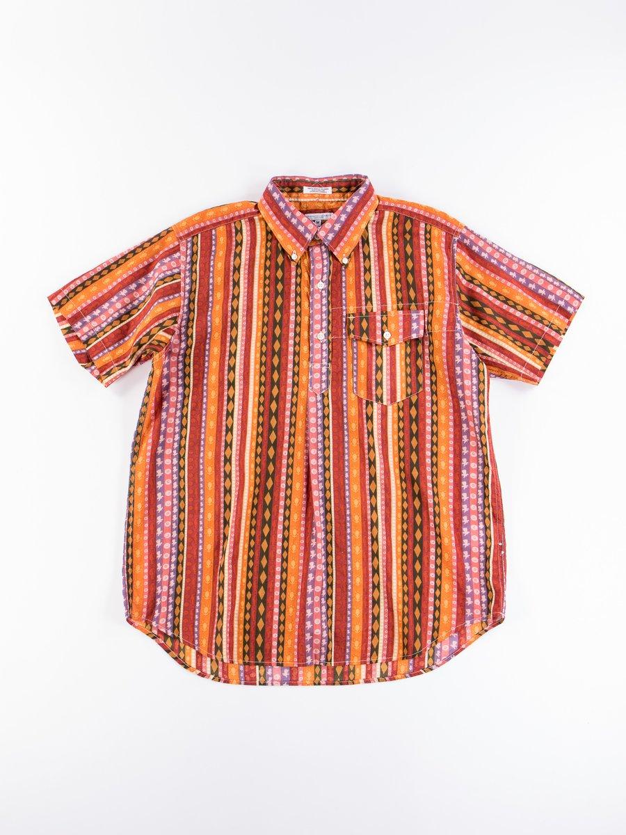 Orange Cotton Lawn Batik Stripe Popover BD Shirt